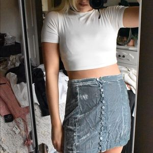 UO suede button down skirt